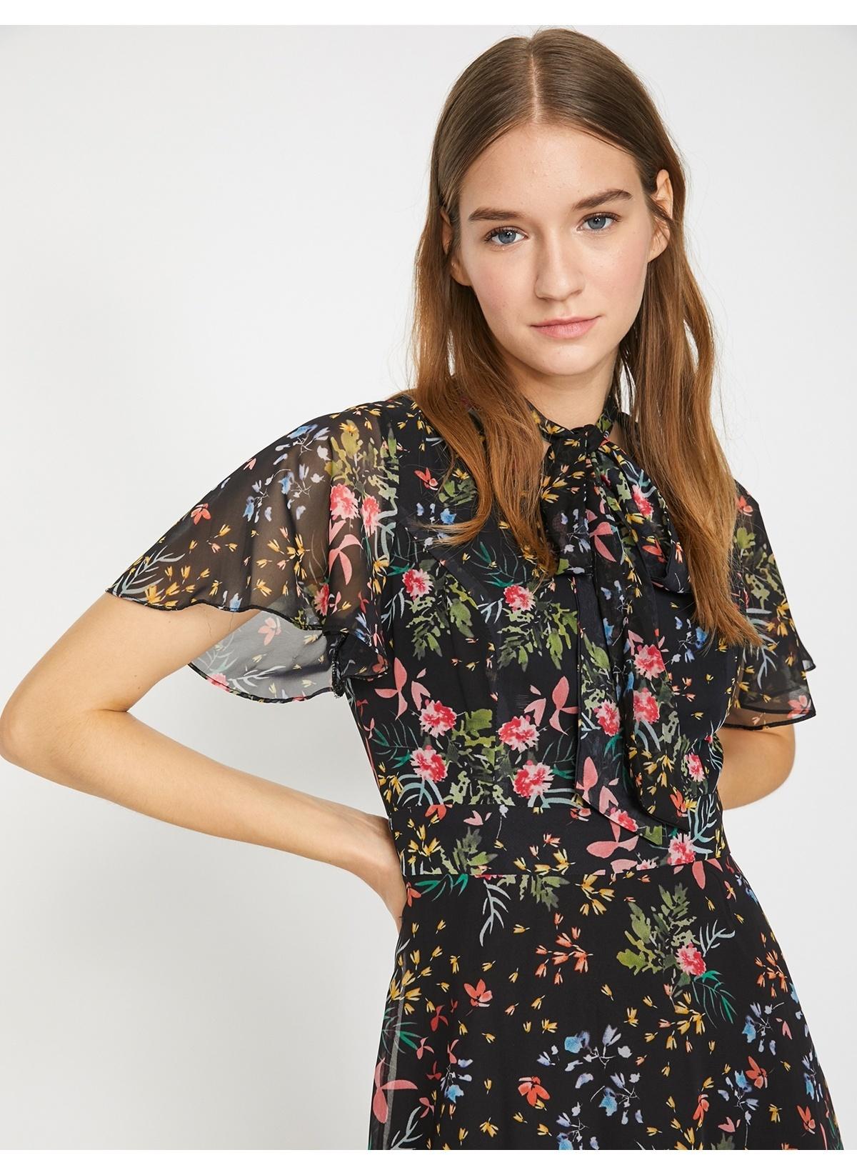 63c3efe5ea622 Koton Kadın Çiçekli Şifon Elbise Yellow Desıgn İndirimli Fiyat ...
